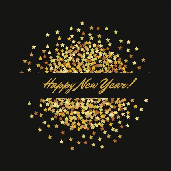 Black Gold Stars Glitter Happy New Year Card
